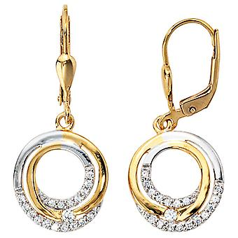 Boutons earrings earrings, 333 / - Gelbgold, part rhodium plated, with cubic zirconia, height approx 29.2 mm