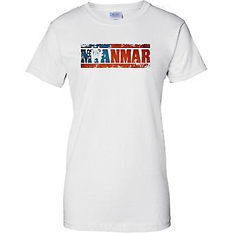 Nazwa efekt flaga kraju Myanmar Grunge - Panie T Shirt