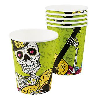 Halloween Day Of The Dead Pack Of 6 Paper Cups 25cl