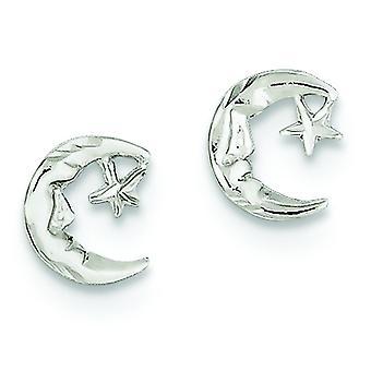 Argent sterling poli Post boucles d'oreilles lune et étoiles enfants Mini boucles d'oreilles -.7 grammes