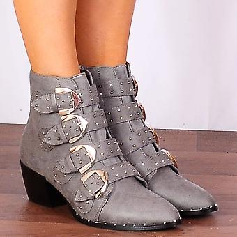 Shoe Closet Ladies Margi30 Grey Faux Suede Western Buckle Pointed Low Heel Ankle Boots