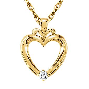 Diamant hjerte vedhæng 14K gul guld