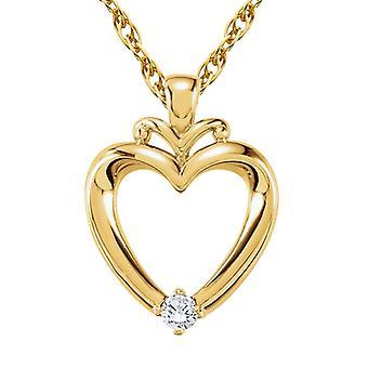 Diamond Heart Pendant 14K Yellow Gold