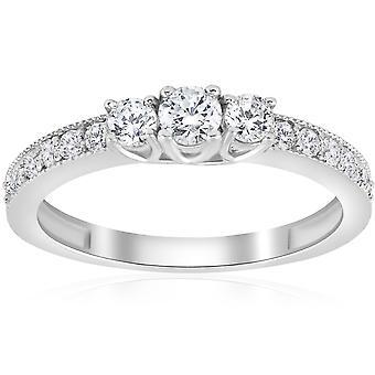 1 / 2ct 3 sten Diamond Ring 14K vitt guld