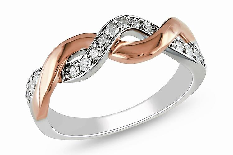 Affici Sterling Silver Half Eternity Ring 18ct White & Rose Gold Plated ~ Twist of Diamond CZ Gems