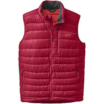 Outdoor Research Mens Transcendent Down Vest Agate/Hot Sauce (X-Large)