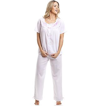 Camille Classic Pink Dot Short Sleeve White Pyjama Set