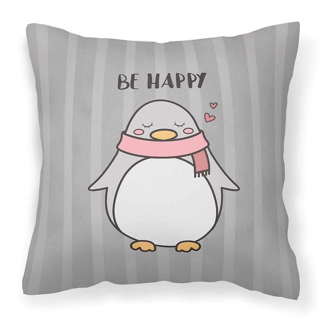 Pépinière être heureux Penquin tissu oreiller décoratif
