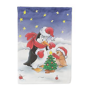 Pinguin und Robin mit Weihnachtsbaum Fahne Leinwandgröße Haus