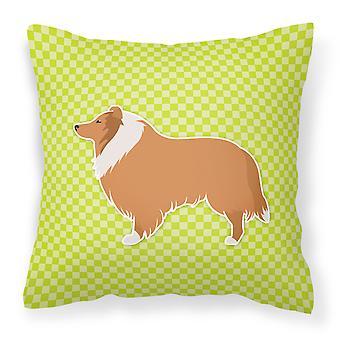 Collie Checkerboard Green Fabric Decorative Pillow