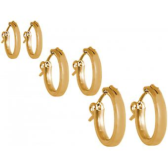 GEMSHINE 925 Silver gold-plated hoop earrings in a classic design in sizes 12 mm - 40 mm. made in Madrid / Spain