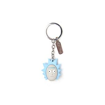 Rick And Morty Keyring Keychain 3D Ricks Face new Official Blue Rubber