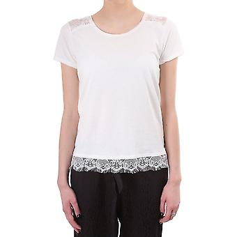 Maison Scotch Ss bomuld linned Tee med blonde detaljer