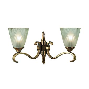 Twin Light Columbia Brass Wall Light With Deco Glass Shades - Interiors 1900 63451