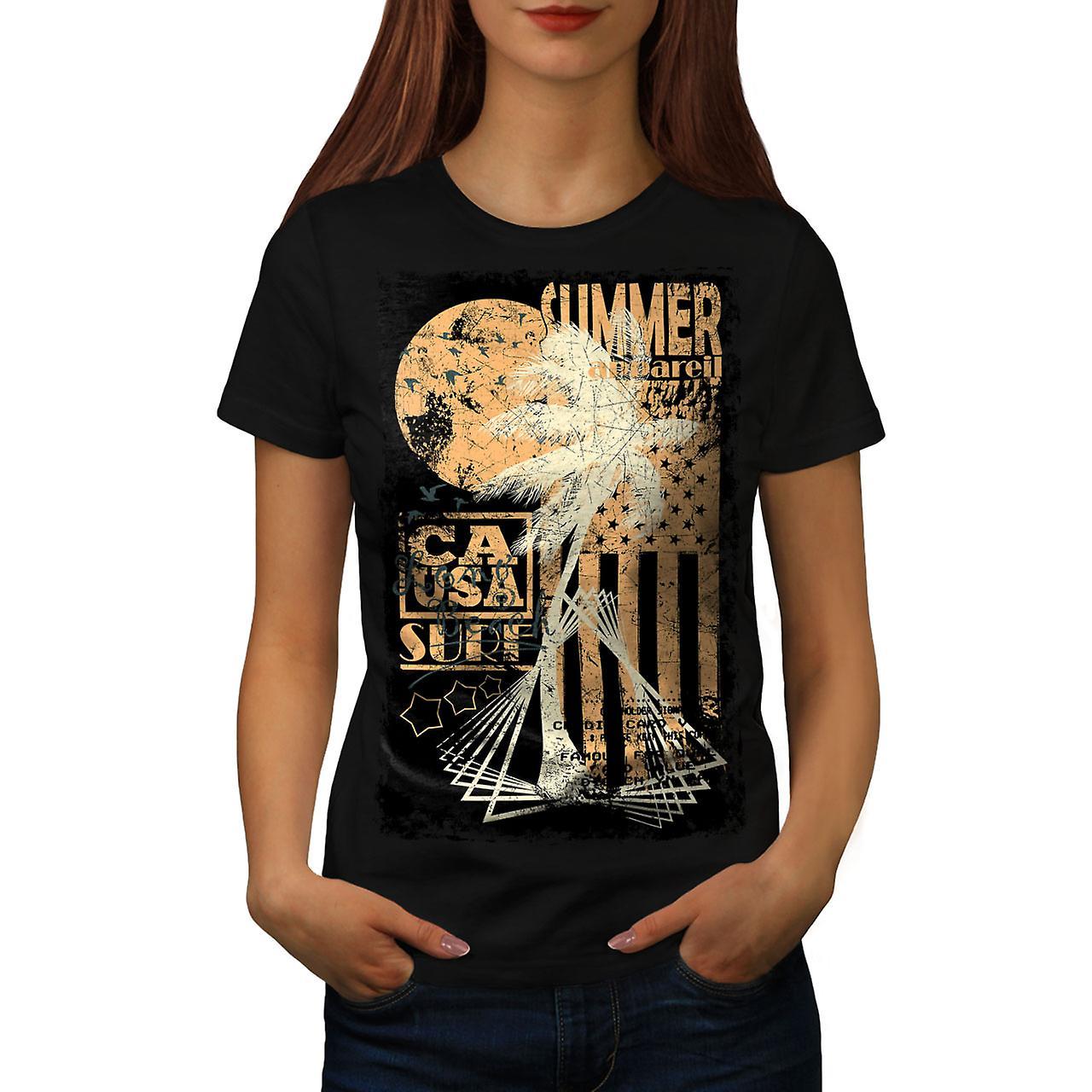 Summer USA Flag Vintage Women Black T-shirt | Wellcoda
