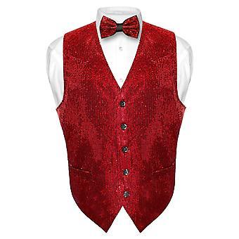 Men's SEQUIN Design Dress Vest & Bow Tie BOWTie Set for Suit Tux