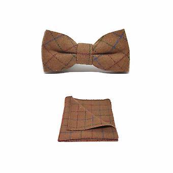 Heritage Check Rustic Brown Men's Bow Tie & Pocket Square Set