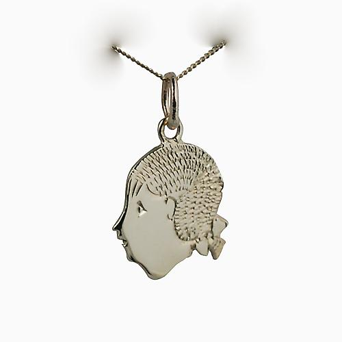 9ct Gold 16x15mm Girl's Head Pendant with a curb Chain 16 inches Only Suitable for Children