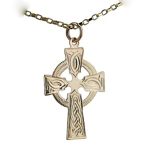 9ct Gold 28x20mm hand engraved knot pattern Celtic Cross with a belcher Chain 16 inches Only Suitable for Children