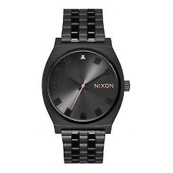 Nixon o contador de tempo preto cristal / ouro Rose (A0452525)