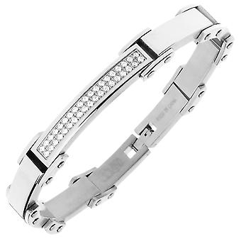 Iced Out Edelstahl Micro Pave CZ Armband - 8mm silber