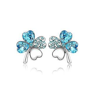 Earrings clover ornate Crystal from Swarovski Elements blue sky