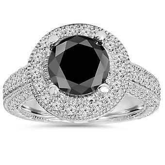 4 1/5ct Black & White Vintage Diamond Engagement Ring 14K White Gold