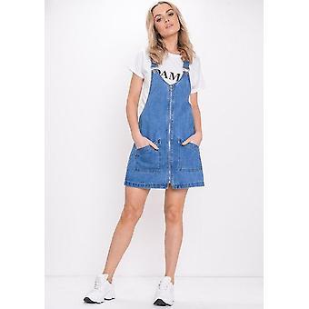 Reißverschluss vorne Denim Pinafore Dress blau