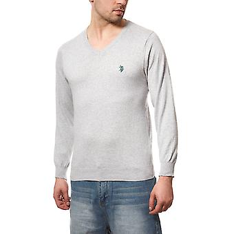 U.S. POLO ASSN. Men's V Neck Cardigan Sweater grey