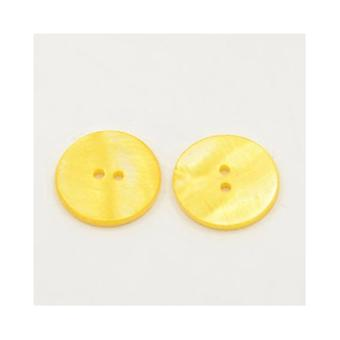 Packet 10 x Gold Shell 20mm Round 2-Holed Sew On Buttons Y01485