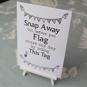 Wedding Instagram White Sign 'Use This Tag' Sign And Easel