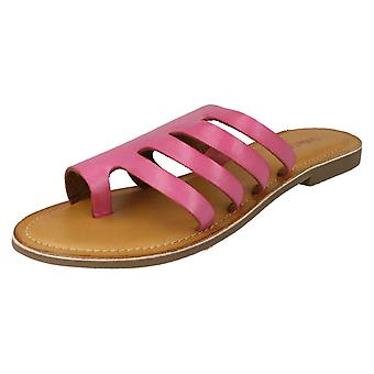 Ladies Leather Collection Flat Strappy Sandals F00125 - Fuchsia Leather - UK Size 5 - EU Size 38 - US Size 7