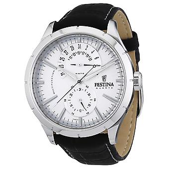 Festina heren zwart lederen band wit F16573/1 Watch