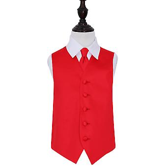 Red Plain Satin Wedding Waistcoat & Tie Set for Boys