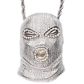 Iced Out Bling Hip Hop Kette - GANGSTER MASK silber