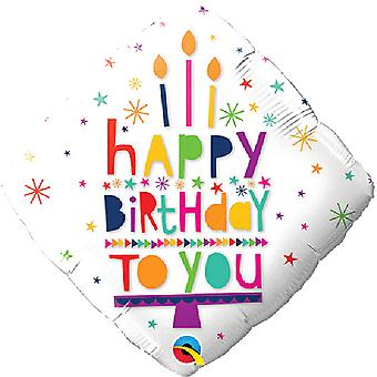 Qualatex 18in Happy Birthday To You Diamond Foil Balloon