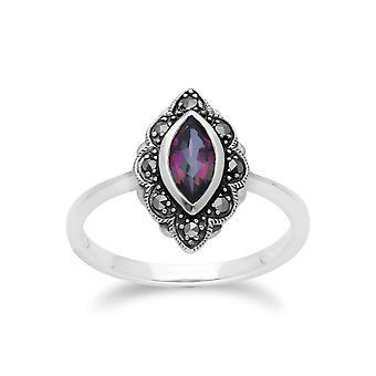 Gemondo Sterling Silver Mystic Topaz & Marcasite Art Nouveau Ring