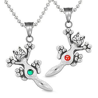Amuletter søde Kitty kat kærlighed par eller bedste venner sætte grønne røde funklende krystaller halskæder