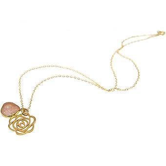 Damen - Halskette - Anhänger - 925 Silber - Vergoldet - ART DECO - Blume - DRUZY - Rose Quarz - 45 cm