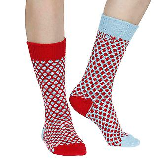 Jamison recycled cotton patterned odd-socks in cherry | By Sidekick