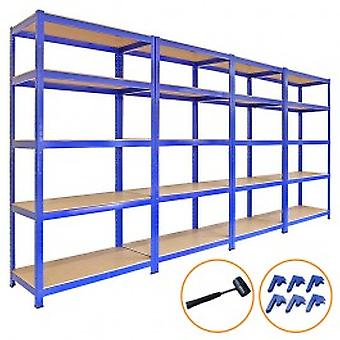 4 x 90cm Blue Shed Utility Greenhouse Storage Racks Garage Shelving Bays 4200kg - Free bay connectors and mallet.