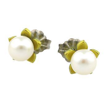 TI2 titanio piccolo fiore e orecchini di perle - giallo limone