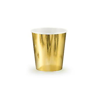 6 metallic Gold Party Pappbecher - 180ml | Kids Party Cups