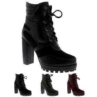 Womens Block Heel Cleated Sole Lace Up Ankle Boot Trendy Fashion Trainer UK 3-10