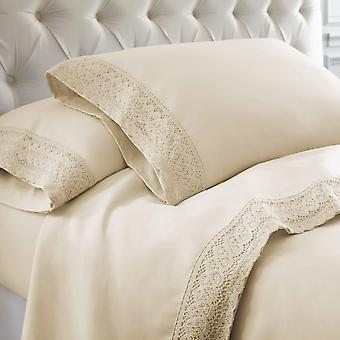 100% Cotton- 4-piece Crochet Lace Bed Sheet Set (high Thread Count)