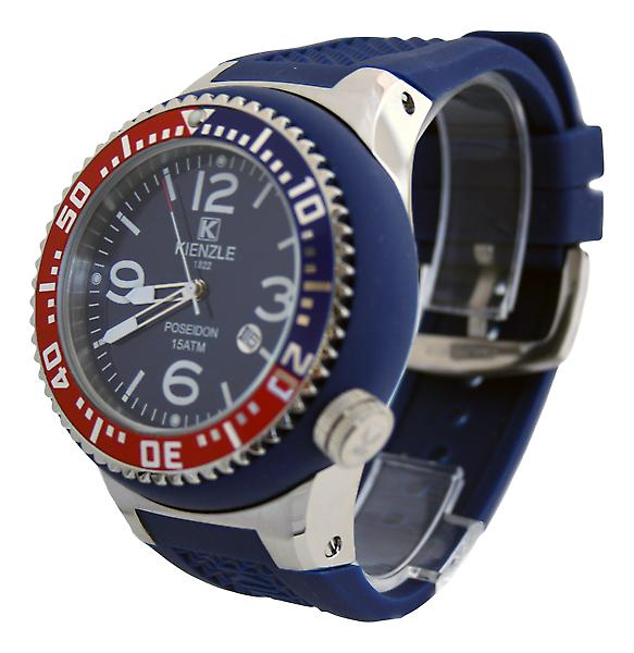 Waooh - Watch Kienzle 720 3043 - Blue Silicone Bracelet - Blue dial - Metal Box & Blue - Red & Blue Bezel