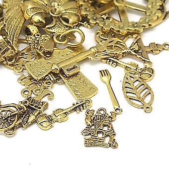30 Grams Antique Gold Tibetan 5-40mm Mixed Shape Charm/Pendant Mix HA12760