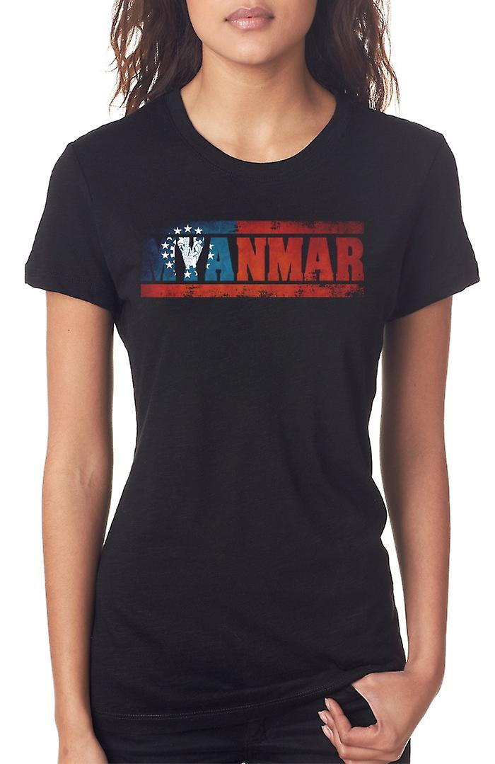 Myanmar Burma Burmese Flag - Words Ladies T Shirt