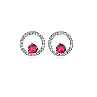 Rhodium plate and Cubic Zirconia red earrings