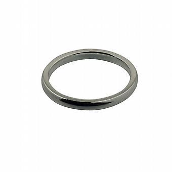 18ct White Gold 2mm plain Court shaped Wedding Ring Size I